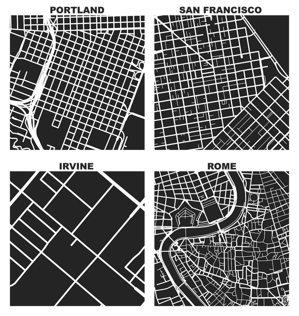 Web Site Design Map: Square-Mile Street Network Visualization